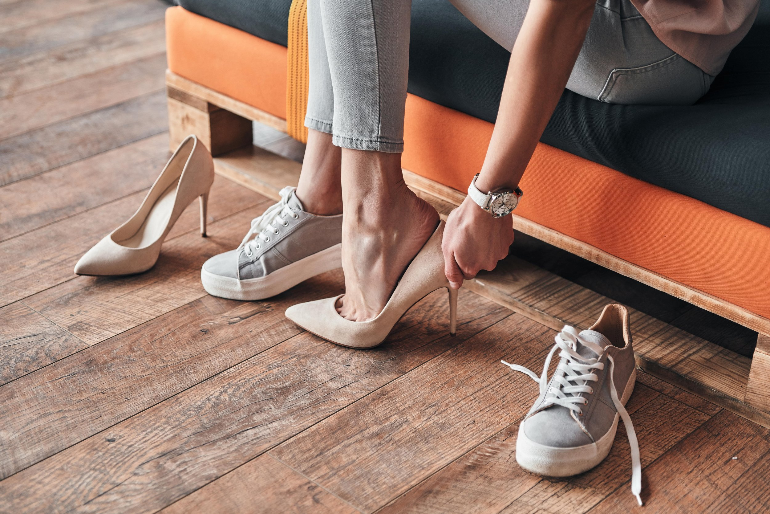 Sneakers and high heels